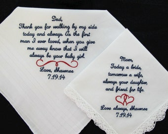 Embroidered Wedding Handkerchiefs for Mother of the Bride and Father of the Bride