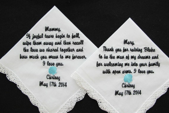 Embroidered Wedding Handkerchiefs for Mother of the Bride and Mother of the Groom