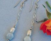 Chalcedony &  Pearl Dangle Earrings - Light Blue - Chain - Drop - June Birthstone - Bride