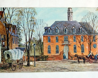 Vintage 1970's Capitol Williamsburg By Drummond  Pressed Board Lithograph Print