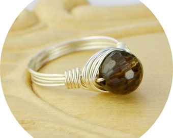 Sale! Smoky Quartz Ring- Sterling Silver Filled Wire Wrapped Ring with Round Faceted Gemstone - Size 4, 5, 6, 7, 8, 9, 10, 11, 12, 13, 14