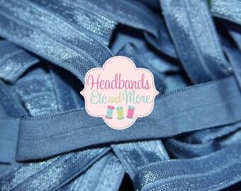 Save on Shipping! 5/8 Denim Blue Fold Over Elastic FOE U Choose Length DIY Hair Ties