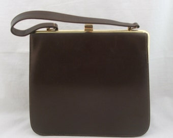 Vintage Brown Vinyl Kelly Style Handbag/Purse/Bag