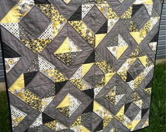 Gray, Yellow, & Black Diamond Quilt