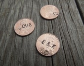 Lucky Pennies - Hand Stamped Pennies - Wedding favors, token of appreciation