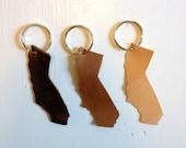 California State Leather Keychain - California Pride, handmade, key chain - groomsmen, wedding, father's day
