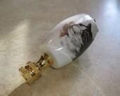 Really Cute Porcelain Tabby Cat Lamp Finial Topper