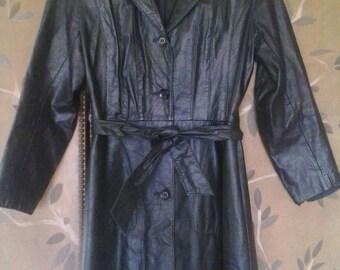Black leather maxi length coat