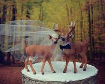 Buck And Doe Bride And Groom Deer Wedding Cake Topper