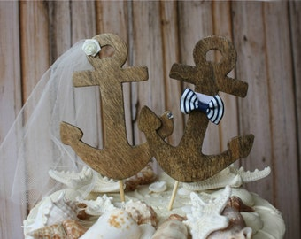 Anchor-wedding-cake topper-bride-groom-nautical-themed-beach-destination-ivory veil-sailor-navy-beach wedding-navy wedding-beach theme