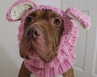 Dog Snood Crochet Pink Rabbit MADE TO ORDER