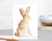 Set of Three Abstract Brown Hare Greetings Card Watercolours Forest Animal Blank Card