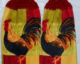 Colorful Rooster Kitchen Towels