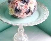 Robin Egg Blue Cake Stand / Vintage-Inspired Parisian Wedding Cake Stand / Duck Egg Blue French Provincial Dessert Pedestal / Cupcake Stand