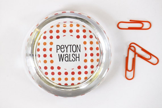 Personalized Paperweight Polka Dot Custom Glass Paperweight Desk Accessories Dorm Room Decor Red Polka Dot Custom Teacher Gifts Office Gift