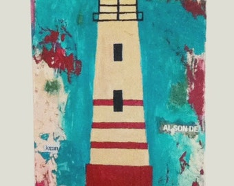 Folk abstract lighthouse on Sale was 45