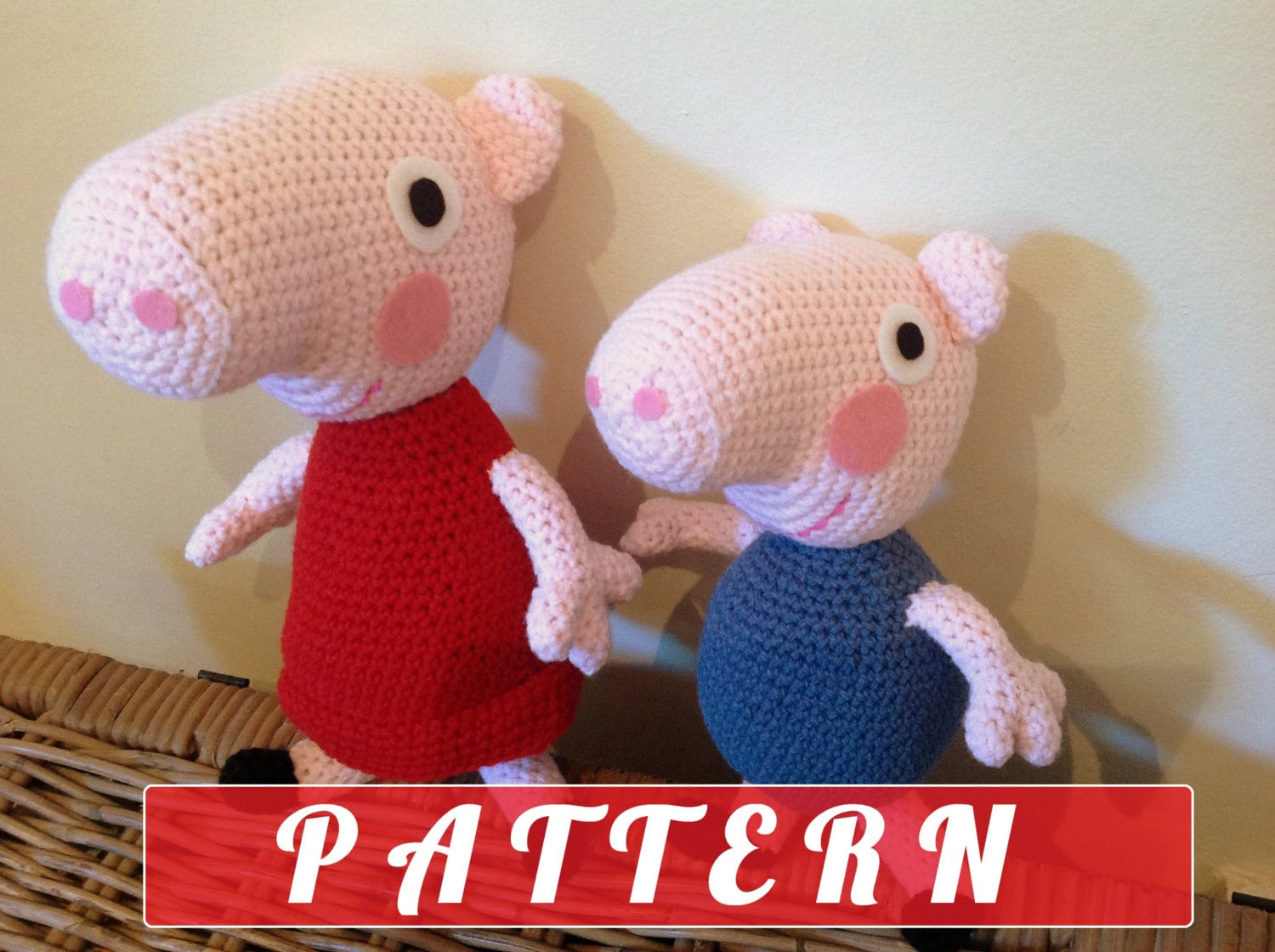 Amigurumi Tutorial Peppa Pig : PDF pattern Peppa Pig and George plush doll by ...
