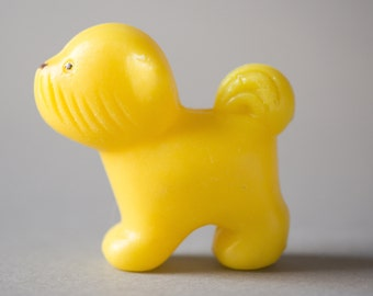 Vintage dog toy, Russian plastic animal, yellow puppy toy, kids room decor, gift for dogs lovers