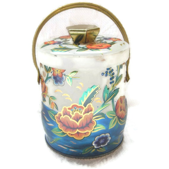 On Sale Vintage Tin Canister Water Flower Lily Orange Blue Aqua gift for her Home Decor Storrage Craft Buttons Beads Design Great Graphics