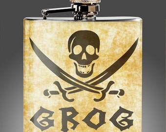 Pirate Flasks - Grog Whiskey Flask with a vintage look, Best Man Gift, Captain Morgan,Rum,  Gift, Stainless Steel 6 oz Liquor Hip Flask