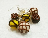 Belgian Chocolate earrings. Polymer clay.