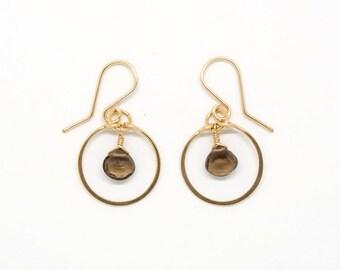 Smoky quartz circle earrings - E1959
