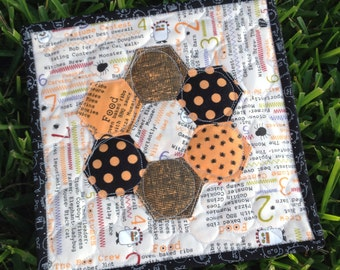 Halloween Hexagon Mini Quilt - Moda Boo Crew Mug Rug or Mini Quilt