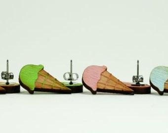 Ice Cream Cone Earrings - Handmade - Laser Cut