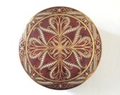 Vintage Daher Round Tin Collectible Tin Red Gold Embossed Decorative Geometric Gifts under 20