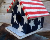Reclaimed Wood Americana Flag Birdhouse Fourth of July Patriotic President's Day