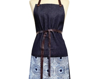 Denim and Wax Print Bib Aprons with Leather Straps (Indigo Delft)