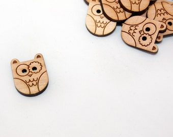 Owl Cherry Round Button, Laser Cut Wood