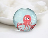 10mm 12mm 14mm 16mm 18mm 20mm 25mm 30mm Handmade Round Photo Glass Cabs Cover-Octopus (P2038)