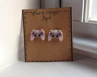 Pink Playstation 3 Dualshock 3 inspired Controller Earrings