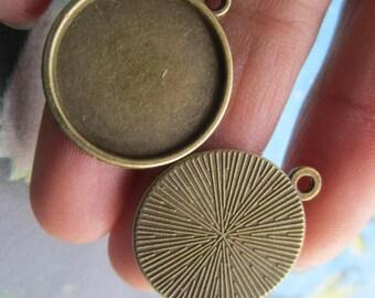12pc  20mm antiqued bronze cabochon/cameo round base setting pendants