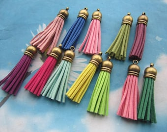 Promotion sale 20pcs 60mm antiqued bronze cap assorted suede leather tassel pendant charms findings