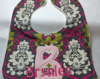 Personalized baby girl bib, girl, embroidered, personalized, new baby gift, baby, bib, custom baby bib, personalized new born