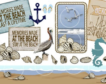 Beach Clipart Summer  Collage Printable Tags, Shells, Pelican, Seahorse, Anchor, Border Instant Download, scrapbook clip art, craft supplies