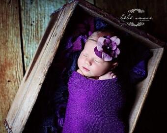 Stretch wrap - 'PURPLE' newborn stretch wrap  / scarf - prop blanket - knitbysarah - Stitches by Sarah