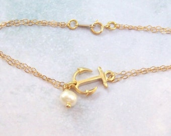 Gold Anchor Anklet, Nautical Anklet, rhodium, 14k gold filled, fw pearl, ocean, double chain, plus size bracelet, tropical, summer, weddings
