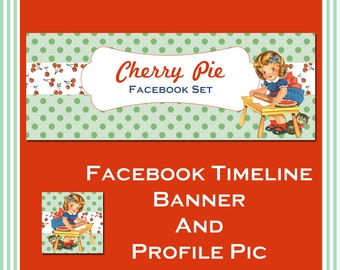 Facebook Timeline Cover and Profile Pic - Cherry Pie - Perfect for Bakers