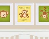 Monkey Nursery Art, Monkey Prints, Personalized Monkey Print, Monkey Artwork for Baby,Monkey Baby Shower, Monkey Nursery, DIY Printable