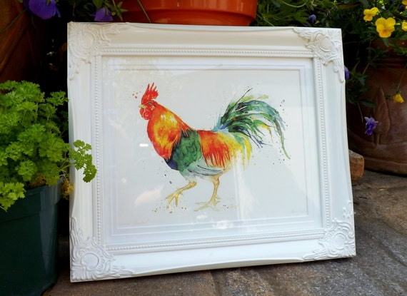 "A4 Giclee Print: Chickens Series ""Welsummer Rooster"" (Watercolour painting)"