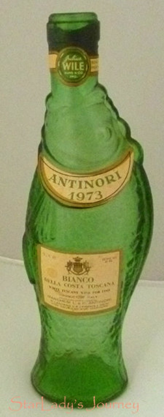 Antique green italian fish wine bottle from the antinori for Fish wine bottle