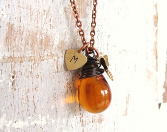 Honey Bee Necklace.Wire Wrapped Amber Teardrop Initial Necklace.Honey Amber Necklace.Amber Glass Necklace. Bumble Bee Jewelry. Amber Jewelry