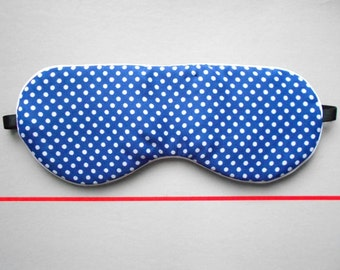 Navy Blue and White Polka Dot Handmade Sleep / Eye Mask with White Ribbing / Simple Night Eyewear