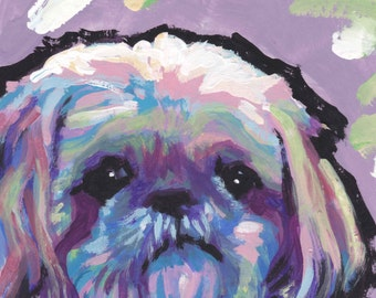 Shih Tzu art print modern Dog portrait pop dog art bright colors 8x8 inch