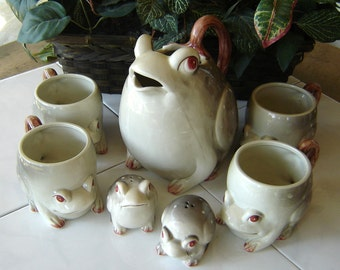 Vintage Fitz and Floyd Frog Collection (7 Pieces)