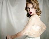 Lace Bridal Shrug/ Shawl. Wedding Champagne Bolero. Fashion Accessories, Lace 4 Options Shawl- Shrug, Shawl, Twist And Circle Scarf (DL131)