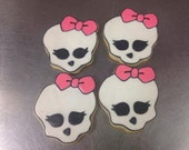 One Dozen Skull Decorated Sugar Cookies Monster High Inspired
